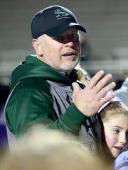 West Salem head coach Shawn Stanley talks to his team