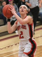 Lucas' Kayla Hignitte makes a shot during a sectional