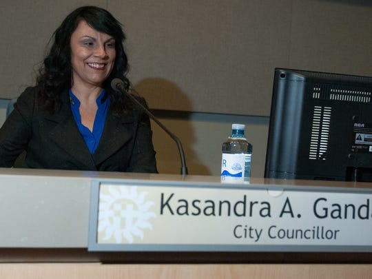 Kasandra Gandara takes her place on the dais Monday at Las Cruces City Hall after being sworn-in as city councilor for District 1.