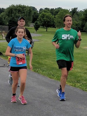 Chambersburg's Savannah Dymond, left, and Mercersburg's Mitch Hawbaker compete in the Sole Challenge, which was held at Norlo Park in Fayetteville from May 26-28. The endurance event featured six-, 12-, 24- and 48-hour races, as well as a marathon.