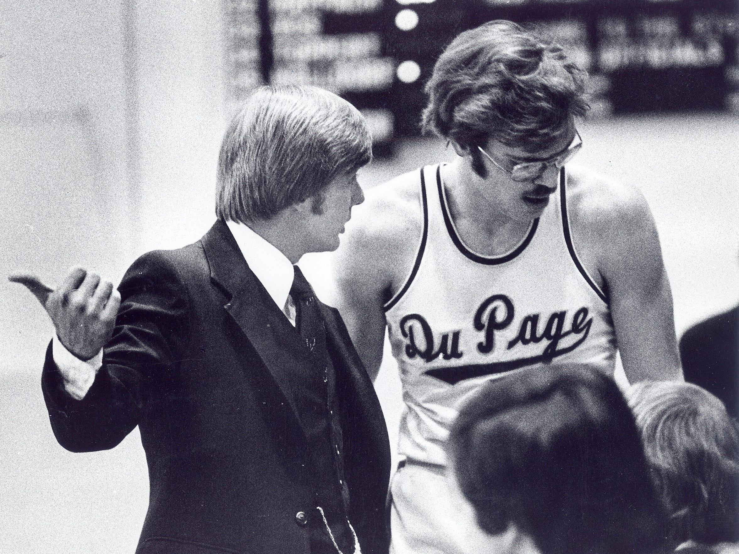 Dick Walters coaching at Du Page before taking the head coach position at UE for the 1978-1979 men's basketball season.