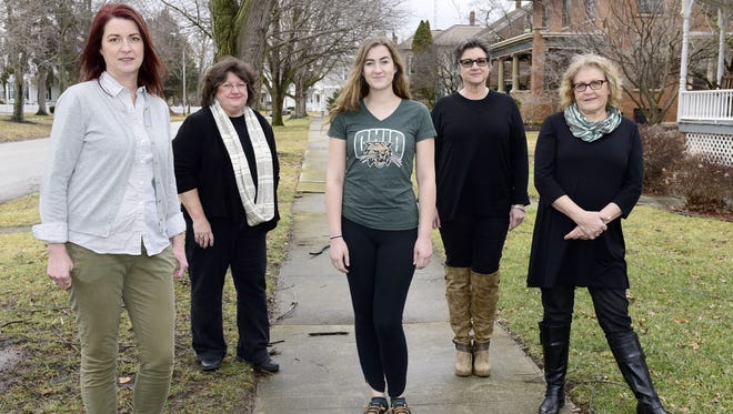 Fremont women who will be part of a panel discussion Saturday about their march in Washington, D.C., are, from left, Holly Elder, Kathleen Nalley, Claire Elder, Susann Robitski Zimmerman and Karen Semer.