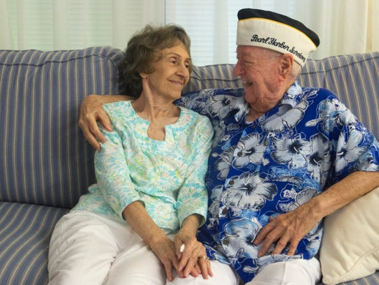 Pearl Harbor survivor John Gideon and his wife Deane-