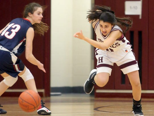 Harrison's Avery LaBarbera (right) and Eastchester's