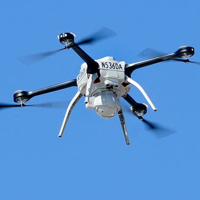 A Michigan State Police drone is shown here during
