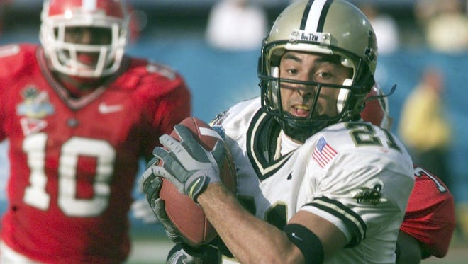 Purdue's Taylor Stubblefield set the NCAA career receptions record.in 2004.