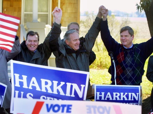 JOHN NORRIS, TOM HARKIN AND TOM VILSACK -- DEMOCRATIC PARTY RALLY -- CUMMING, IA.