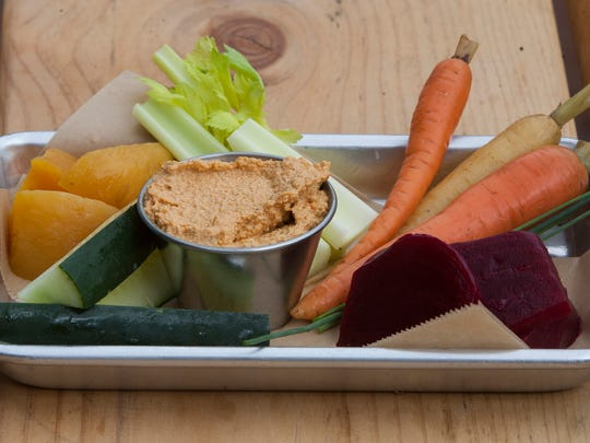 The relish plate, pickled vegetables and cashew cheese,