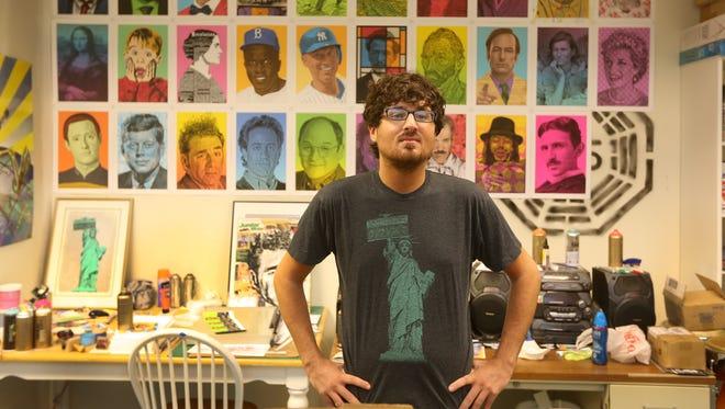 Artist Mike Dellaria in his Park Avenue studio.