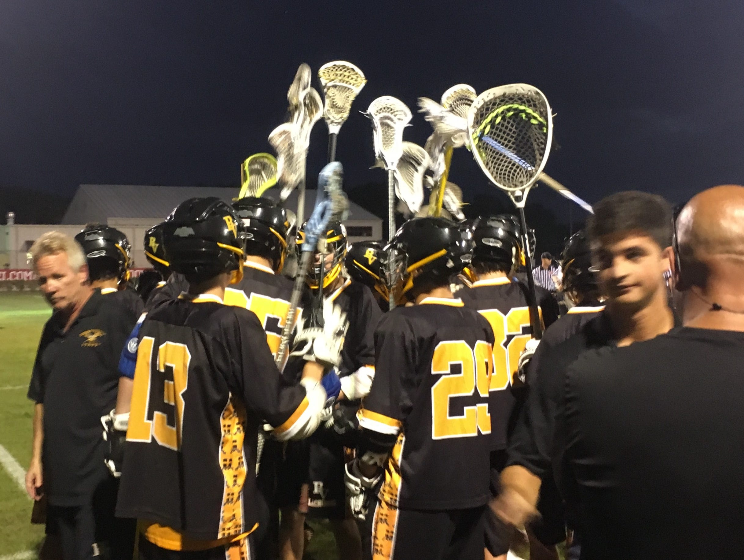 The Bishop Verot boys lacrosse team breaks the huddle after a timeout during its 12-4 loss at Sarasota Cardinal Mooney in a first-round play-in game Friday.