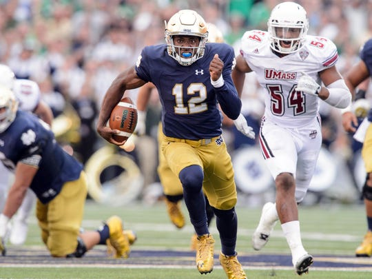 Brandon Wimbush ran for a touchdown in 2015 against Massachusetts. He played two games as a true freshman that year after quarterback Malik Zaire broke his ankle.