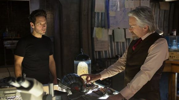 """Paul Rudd, left, and Michael Douglas in a scene from """"Ant-Man."""""""