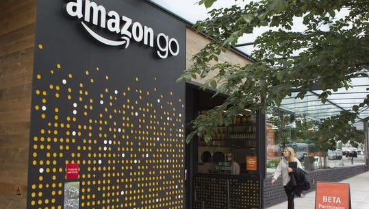 An Amazon Go grocery store is seen at the Amazon corporate headquarters in June 2017 in Seattle. Amazon has rejected a saguaro cactus that aTucson economic development group sent to the online giant in hopes of luring a second company headquarters to the city.