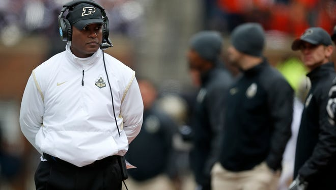 Purdue head coach Darrell Hazell watches his team play Illinois during the first half of an NCAA college football game on Saturday, Oct. 4, 2014, in Champaign, Ill. (AP Photo/Andrew A. Nelles)