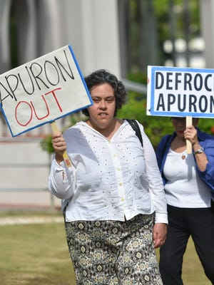 Protests against Archbishop Anthony Apuron continue as members and supporters of the Laity Forward Movement, Concerned Catholics of Guam, and Silent No More gather at the Dulce Nombre de Maria Cathedral-Basilica in Hagåtña on April 30, 2017.