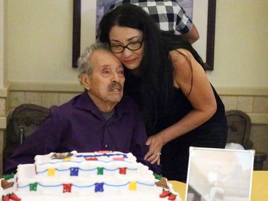 Leobardo Herandez, 89, with daughter Sylvia Jobe.