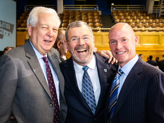 Bill Raftery (left) poses with P.J. Carlesimo and Kevin Willard at Seton Hall's Hall of Fame induction in 2014.