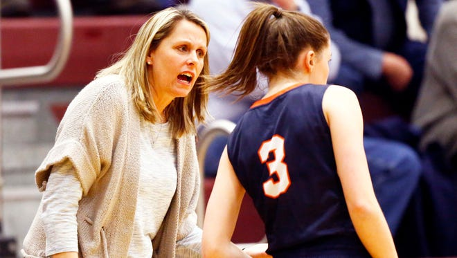 Beech head coach Kristi Utley talks to Jona Clair Swafford (3) during their game against Station Camp, Friday, Jan. 19, 2018, in Gallatin, Tenn. (Photo by Wade Payne, Special to the Tennessean)