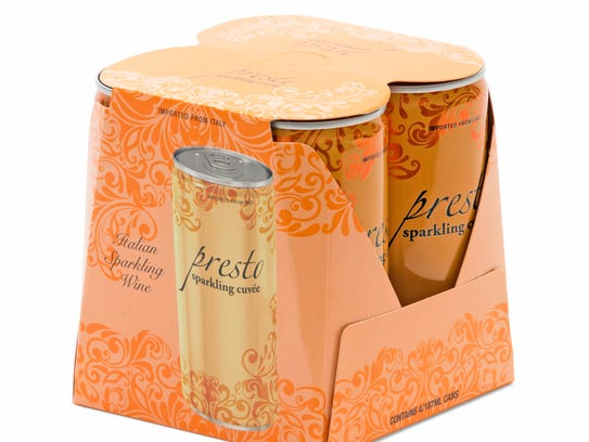 Presto canned sparkling wine is sold at Whole Foods.