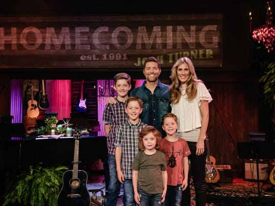 Josh Turner, his wife, Jennifer, and their sons, Hampton,
