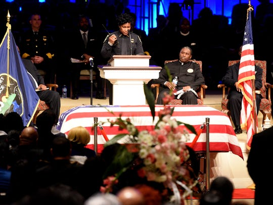 Yolanda Williams does the End of Watch during the funeral