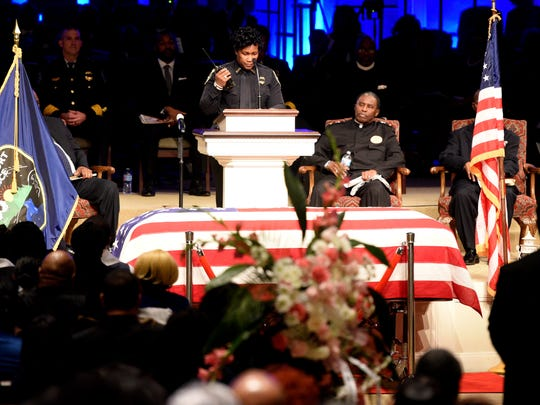 Yolanda Williams does the End of Watch during the funeral for Shreveport Police Department officer ChatŽri Payne, Saturday January 19, 2019 at Summer Grove Baptist Church.