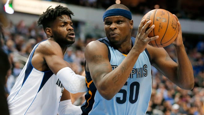 Dallas Mavericks' Nerlens Noel (3) defends as Memphis Grizzlies' Zach Randolph (50) positions for a shot during the first half in Dallas, Friday, March 3, 2017.