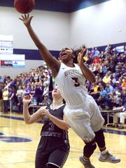 Riverdale's Anastasia Hayes (3) goes up for a shot during a recent game. Hayes and the Lady Warriors will play at 1:15 in the Class AAA girls state tournament Wednesday against Morristown West.