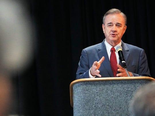 Texas A&M Chancellor John Sharp speaks during the Coastal