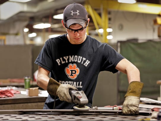 Lakeshore Technical College student Gabe Meyer works