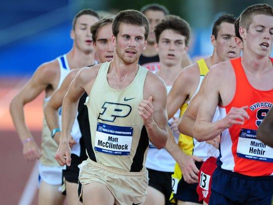 Purdue junior Matt McClintock competes in the 10,000