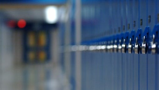 Row of blue school lockers.