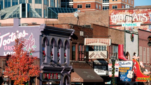 Bars and shops on Broadway.