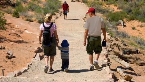 Family hiking.