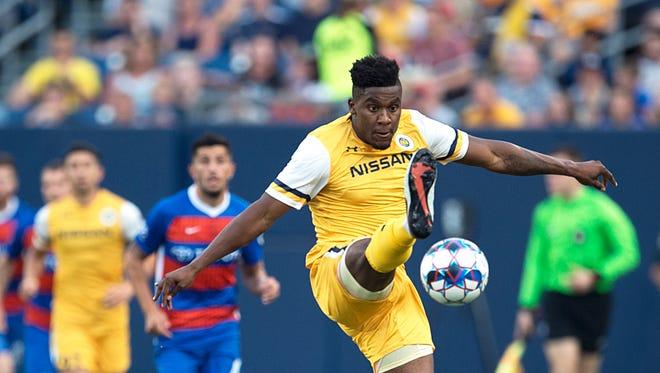 Nashville SC defender Bradley Bourgeois (22) tries to control the ball against FC Cincinnati on Saturday, July 7, 2018 at Nissan Stadium in Nashville, Tenn.