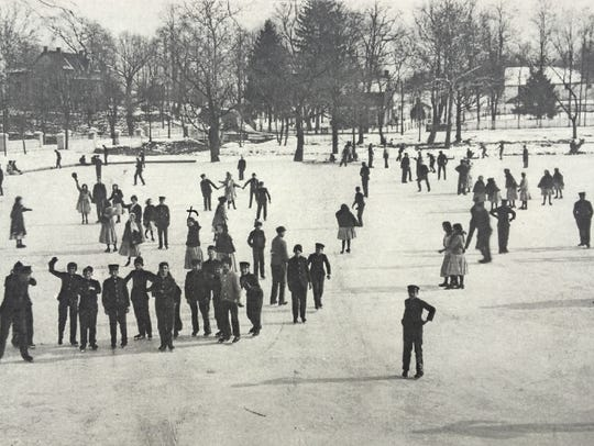 Skaters enjoy an outing on the pond at the Scotland