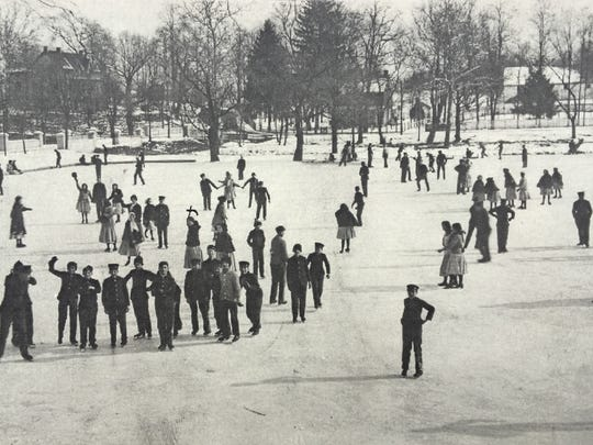 Skaters enjoy an outing on the pond at the Scotland School for Veterans Children circa 1900.