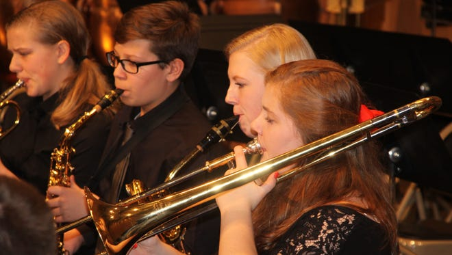 The St. Philip High School concert band plays at their 2015 Christmas concert.