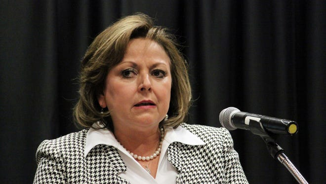 Gov. Susana Martinez speaks about the recent legislative session to a group of business leaders and real estate developers during a luncheon in Albuquerque, N.M., on Monday, March 27, 2017. The two-term Republican governor warned that New Mexico is facing a dire fiscal situation and employee furloughs are possible.