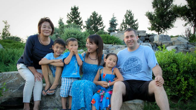Bryan Pereverseff's family includes his wife, Takako, and their children Sho, 9, Ako, 7, and Koh, 4. Also pictured is Takako's mother Mitsuko Yamada of Towada City, Japan.