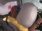 A dummy hits an inflated airbag during the crash