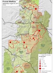 Fire map for Cascade Crest as of Thursday, Aug. 30.