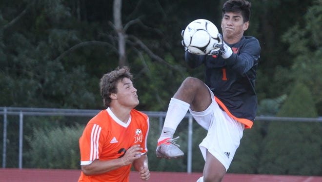 Yorktown boys soccer beat Mamaroneck 4-2 at Yorktown Sept. 12, 2016.