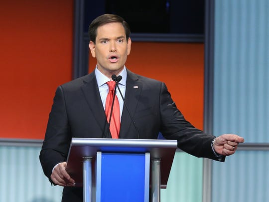 Sen. Marco Rubio, R-Fla., fields a question during
