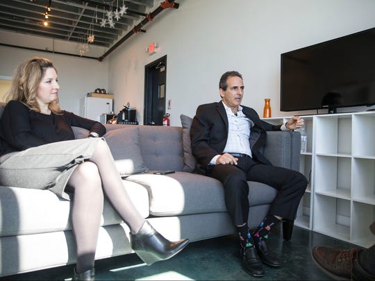 GoMo Health founder Bob Gold talks in his Asbury Park office, where he works with Shelley Schoenfeld.