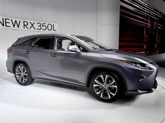 The 2018 Lexus RX 350L is on display at the 2017 LA Auto Show in Los Angeles on November 29, 2017.
