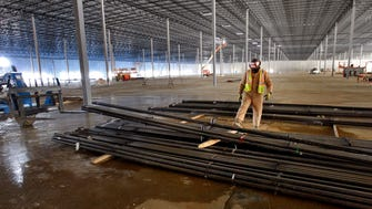 Post Consumer Brands will lease a large warehouse recently completed near Byhalia in Gateway Global Logistics Park. This photo, made in January, shows construction under way in the 554,040-square-foot building. (Stan Carroll/The Commercial Appeal)