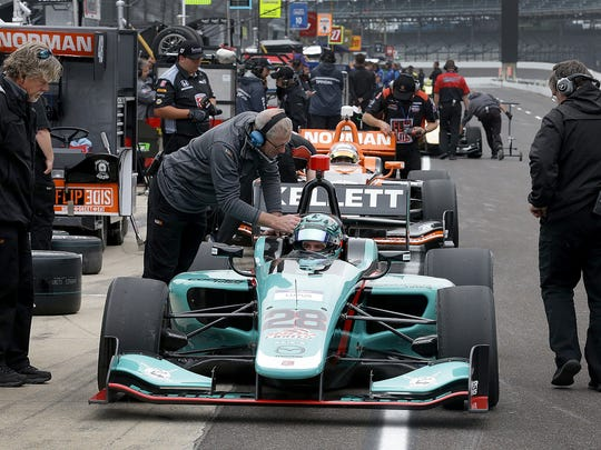 Driver Dalton Kellett (28) waited to hit the track during INDY Lights practice May 11, 2017, at Indianapolis Motor Speedway.