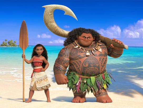 "Moana (left) and Maui are on a mission in ""Moana,"""