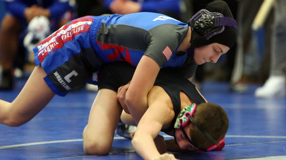 Carmel's Abby Duke finished 4th in the Section 1 wrestling qualifier at Carmel High School Feb. 3, 2018.